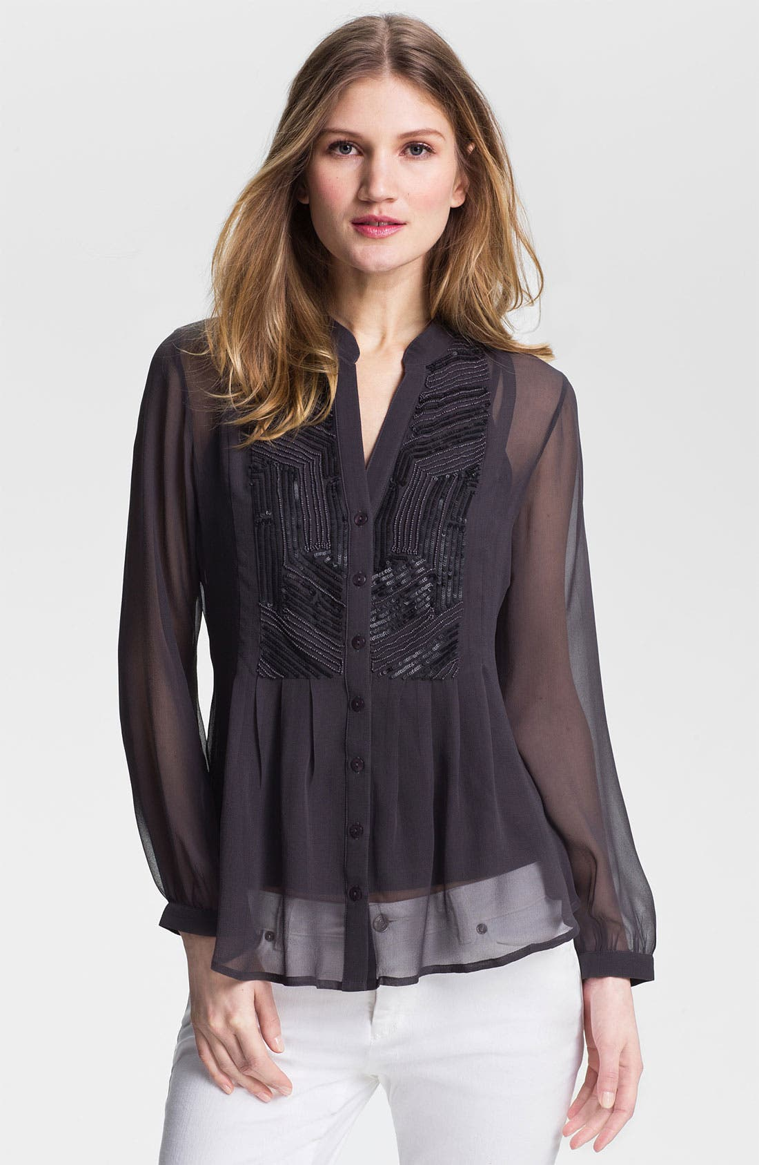 Main Image - Kay Celine Embellished Silk Chiffon Blouse with Tank