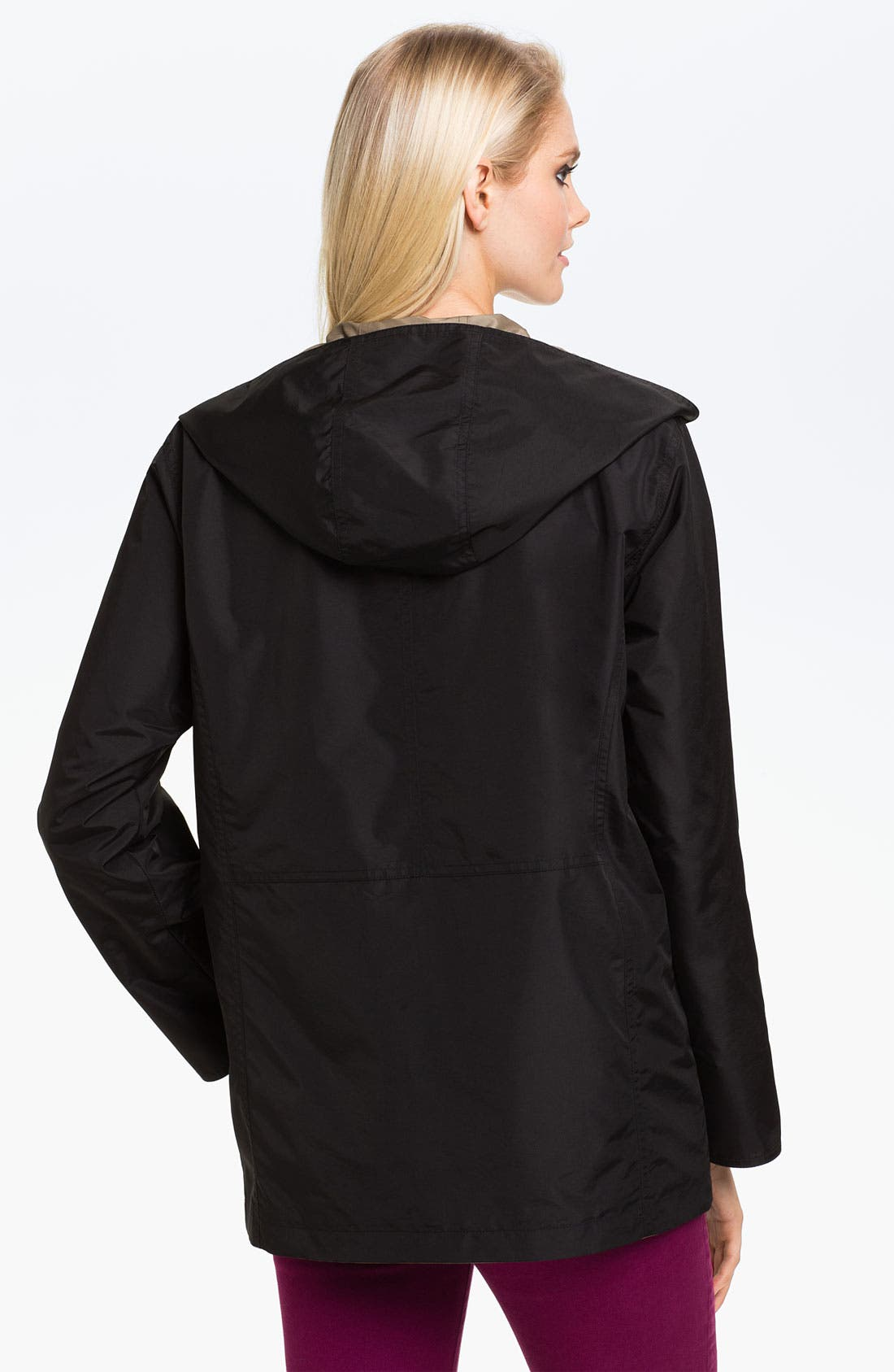 Alternate Image 2  - Gallery Reversible Hooded Raincoat (Petite)