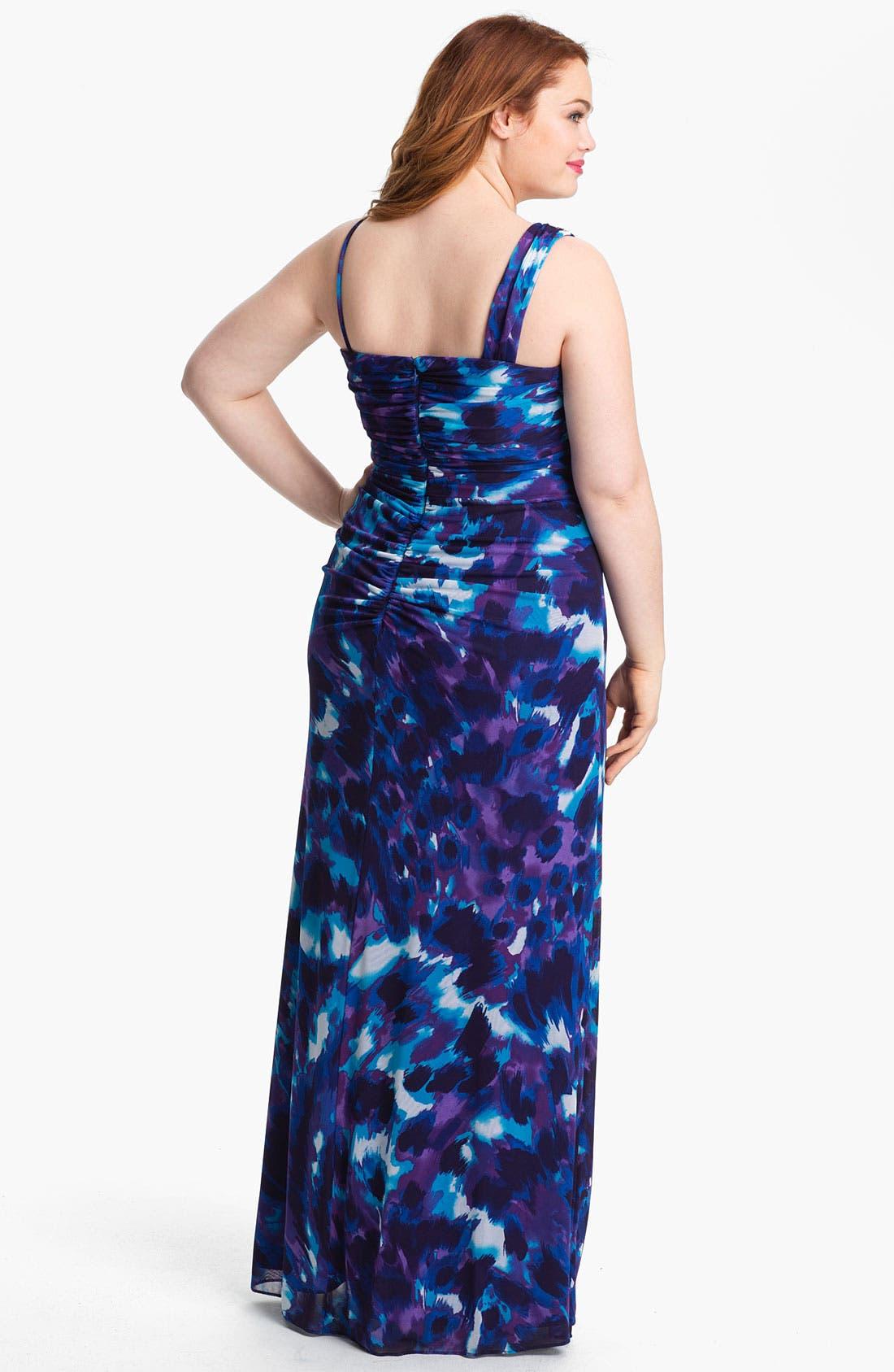 Alternate Image 2  - Xscape Embellished Shoulder Print Mesh Dress (Plus Size) (Online Only)