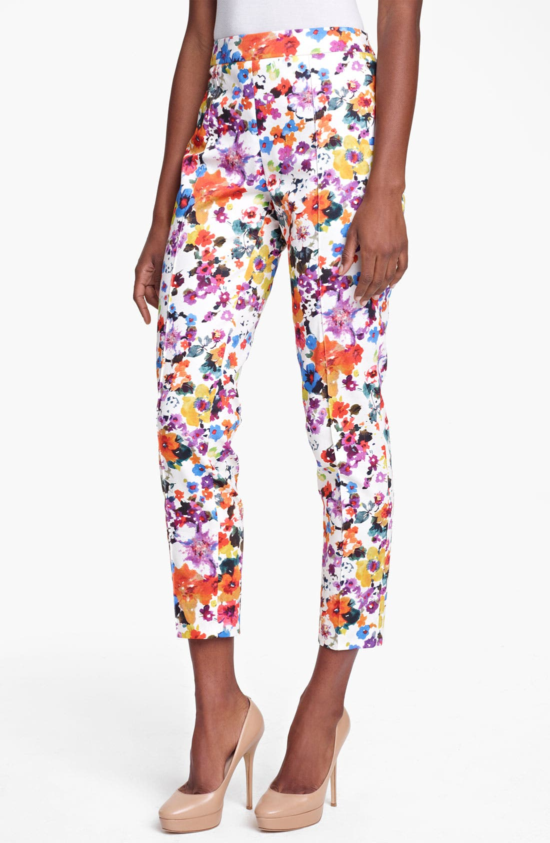 Alternate Image 1 Selected - Max Mara 'Friscia' Floral Print Stretch Cotton Crop Pants