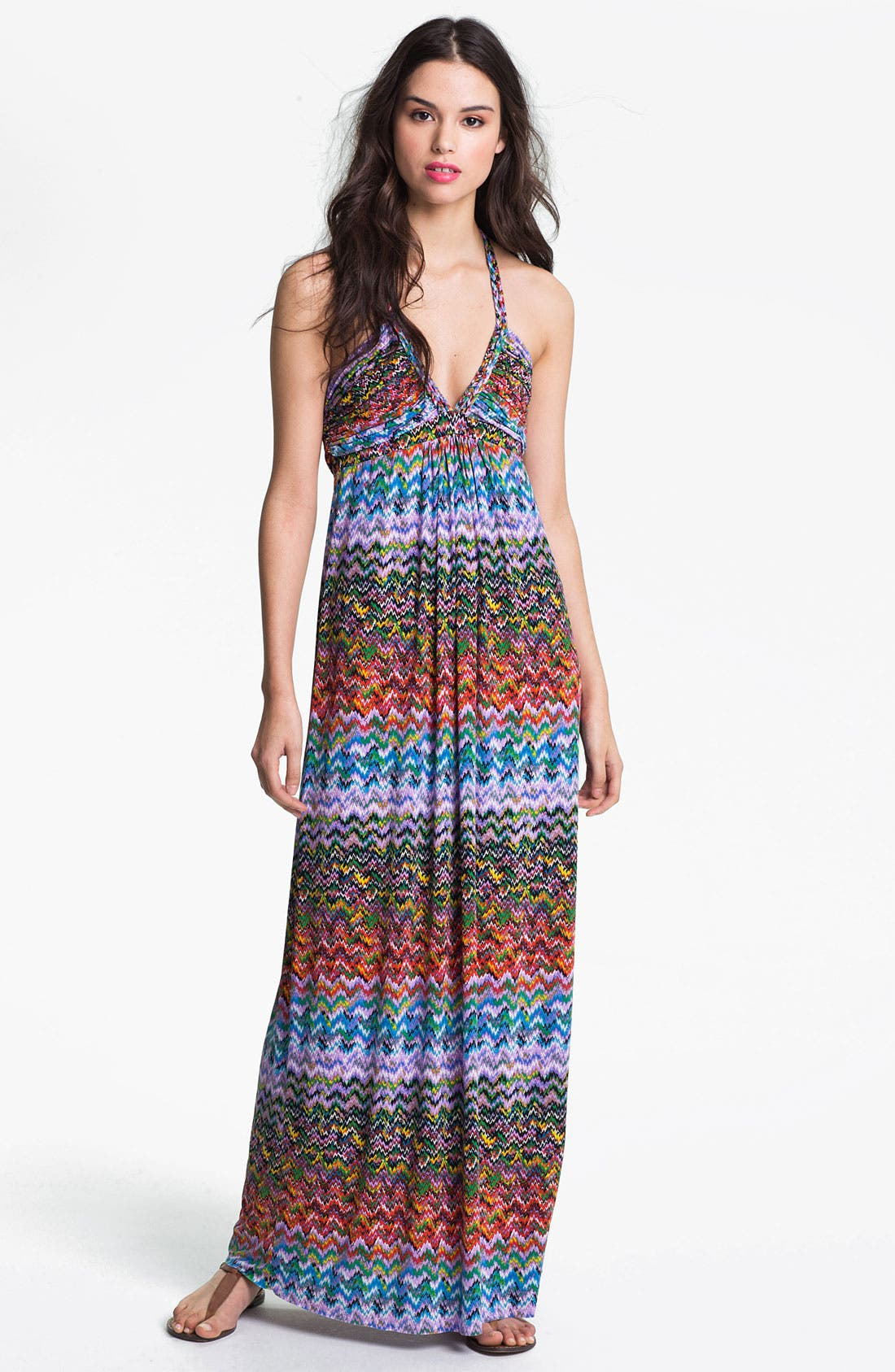 Alternate Image 1 Selected - Tbags Los Angeles Braided Print Maxi Dress