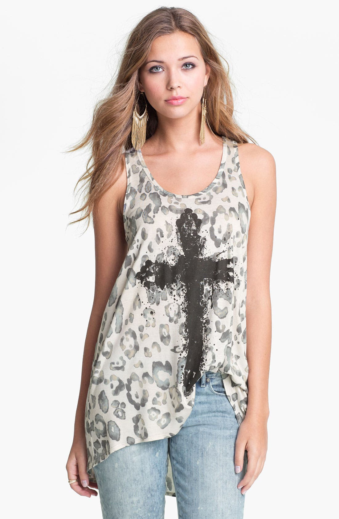 Alternate Image 1 Selected - Soprano Cross Graphic Animal Print Tank (Juniors)