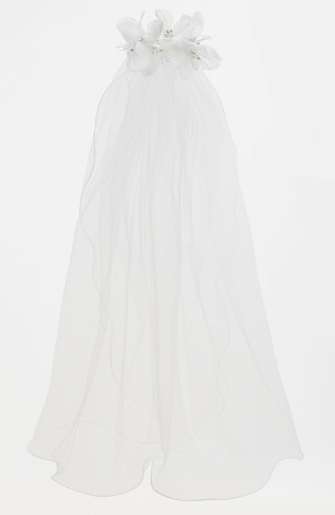 Main Image - Adrianna Cupelli 'Magnolia' Barrette Veil (Girls)