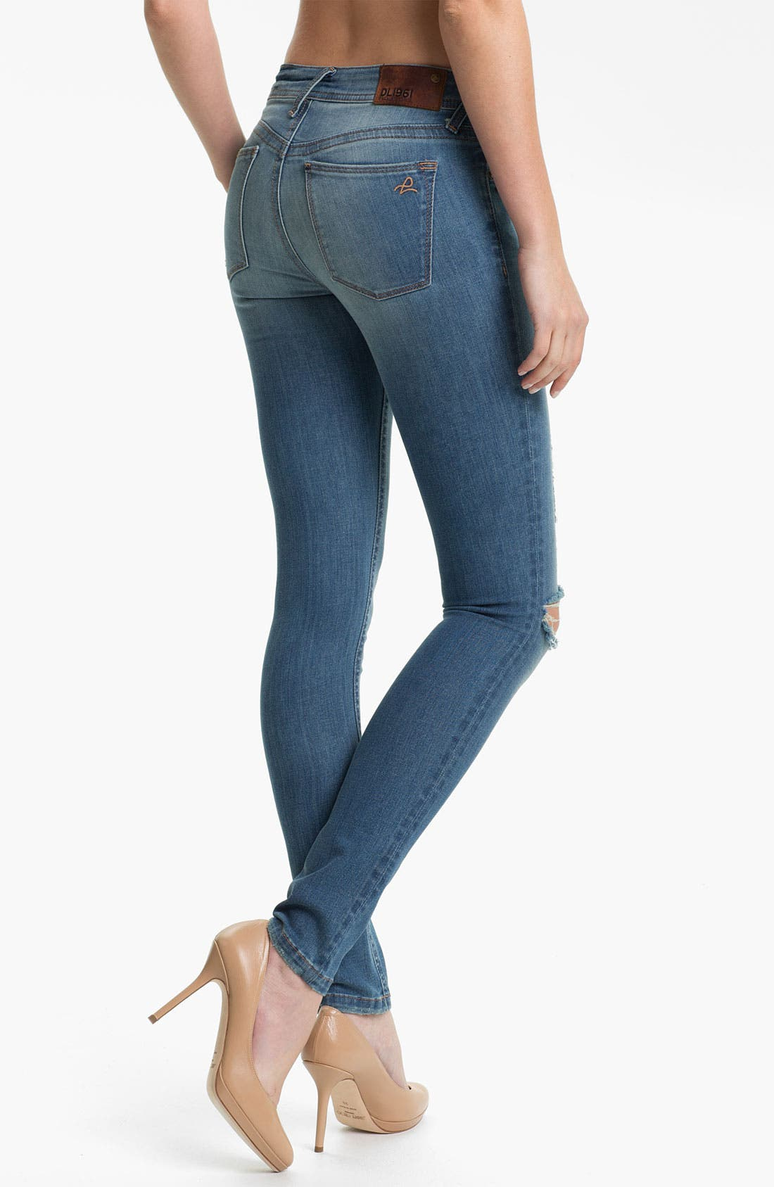 Alternate Image 2  - DL1961 'Amanda' X-Fit Stretch Destroyed Denim Skinny Jeans (Mayhem)