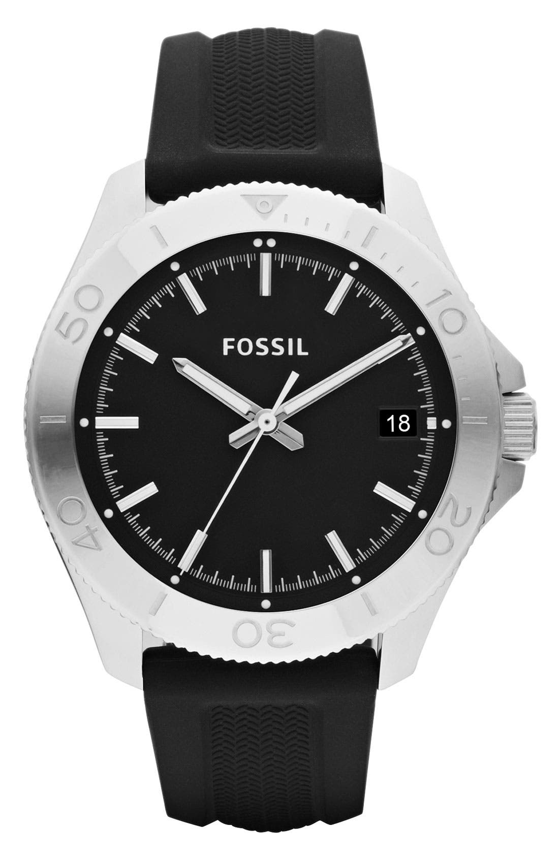 Alternate Image 1 Selected - Fossil 'Retro Traveler' Silicone Strap Watch, 44mm