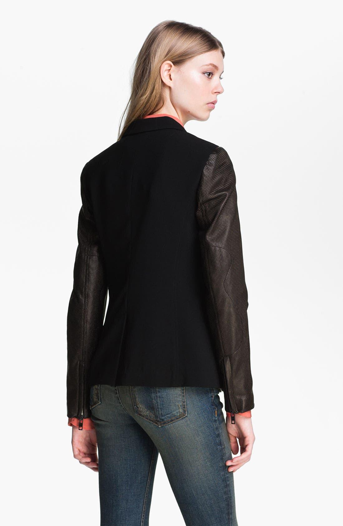 Alternate Image 3  - rag & bone Leather Sleeve Moto Blazer
