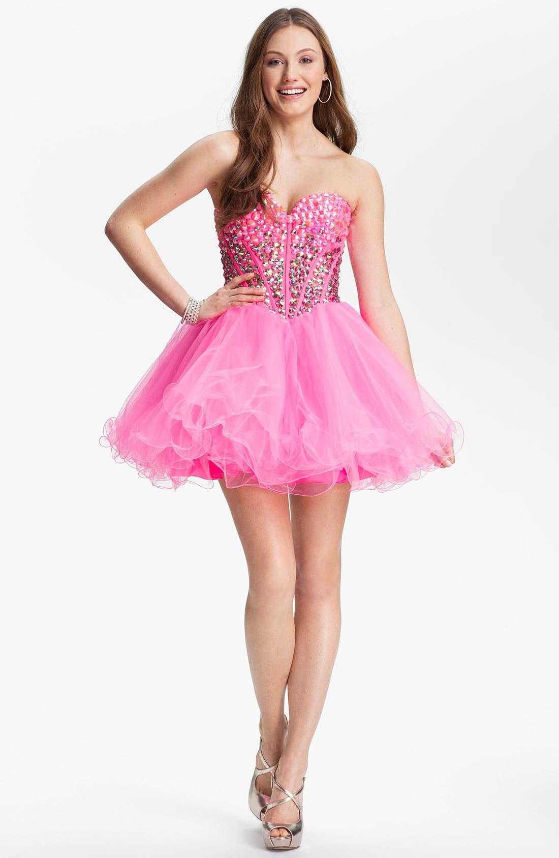 Alternate Image 1 Selected - Sherri Hill Beaded Tulle Babydoll Dress