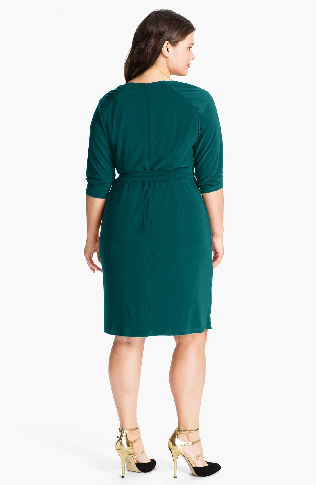 Alternate Image 2  - Suzi Chin for Maggy Boutique Jersey Faux Wrap Dress (Plus)