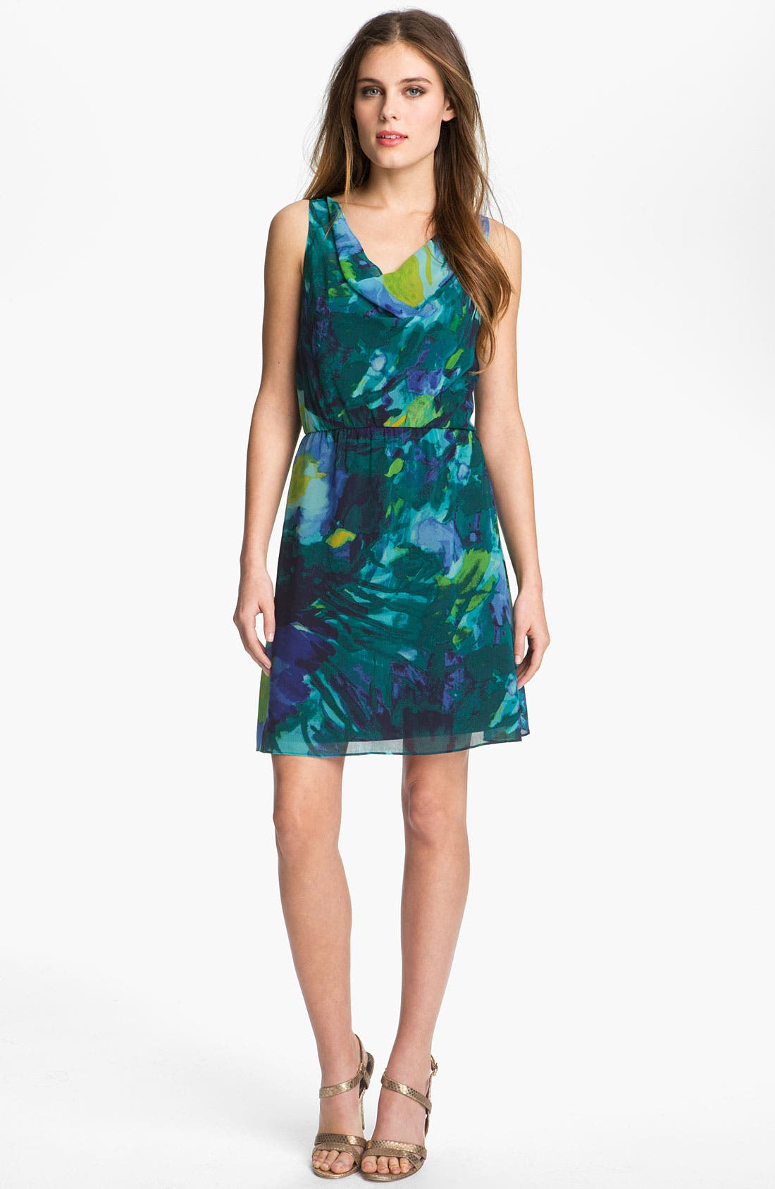 Main Image - Donna Morgan Print Cowl Neck Chiffon Dress