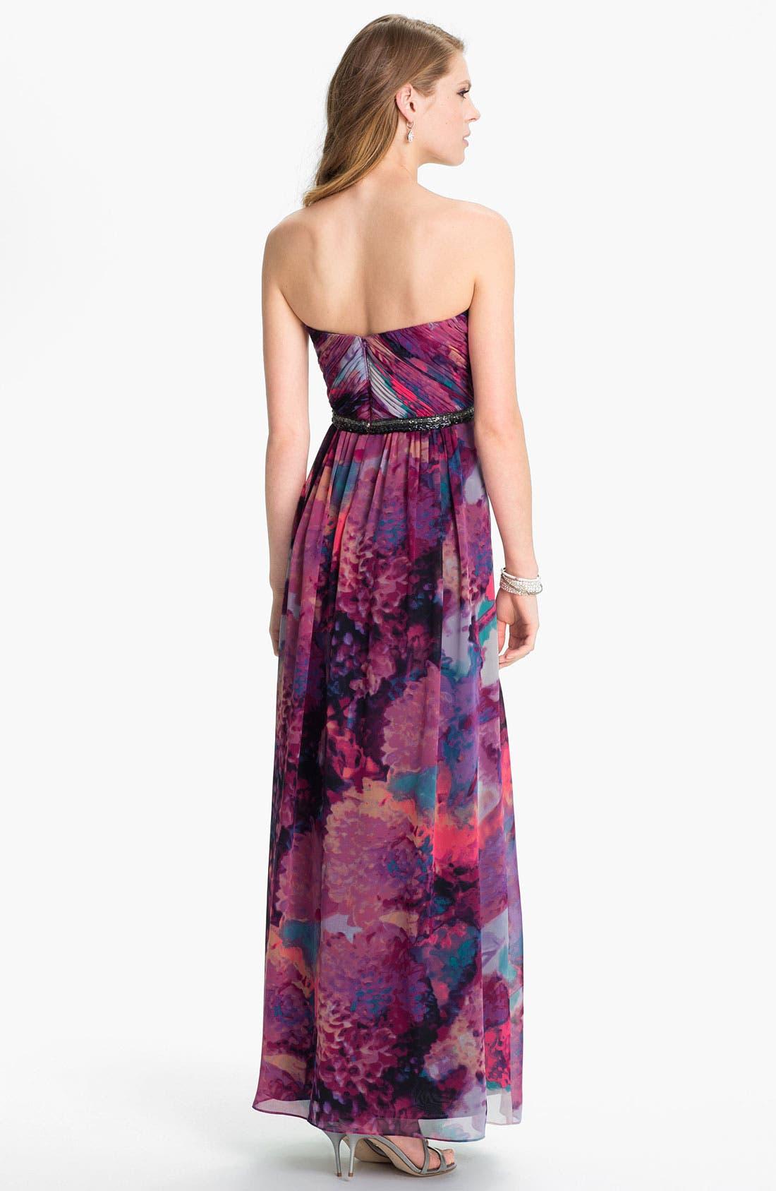 Alternate Image 2  - Calvin Klein Embellished Print Chiffon Gown