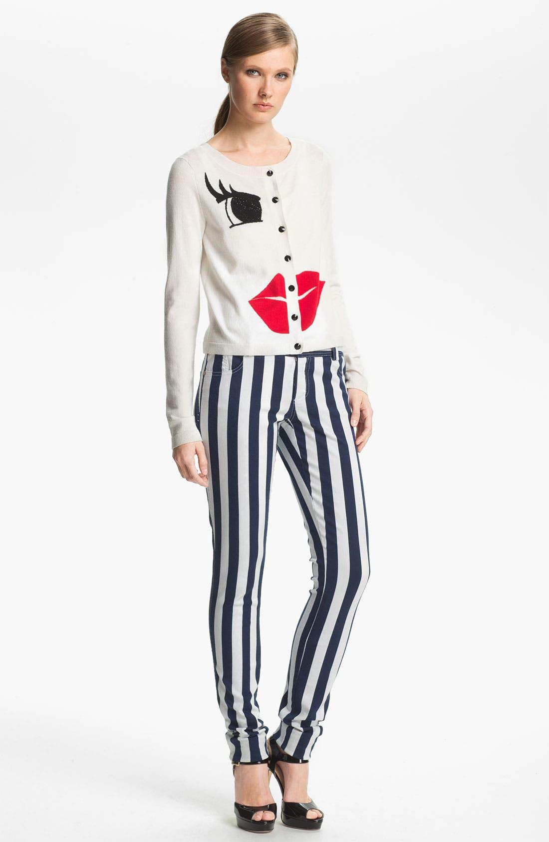 Alternate Image 4  - Alice + Olivia Stripe Skinny Jeans
