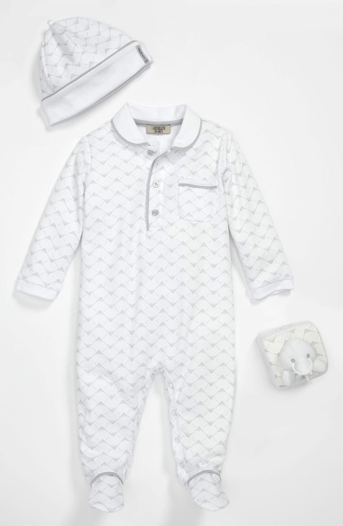 Alternate Image 1 Selected - Armani Junior Footie, Cap & Toy Set (Infant)
