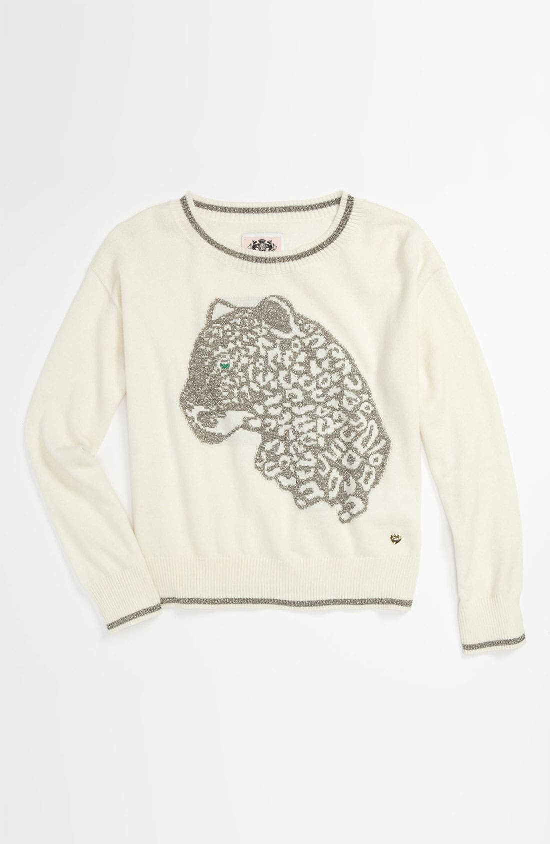 Alternate Image 1 Selected - Juicy Couture 'Snow Leopard' Sweater (Little Girls & Big Girls)