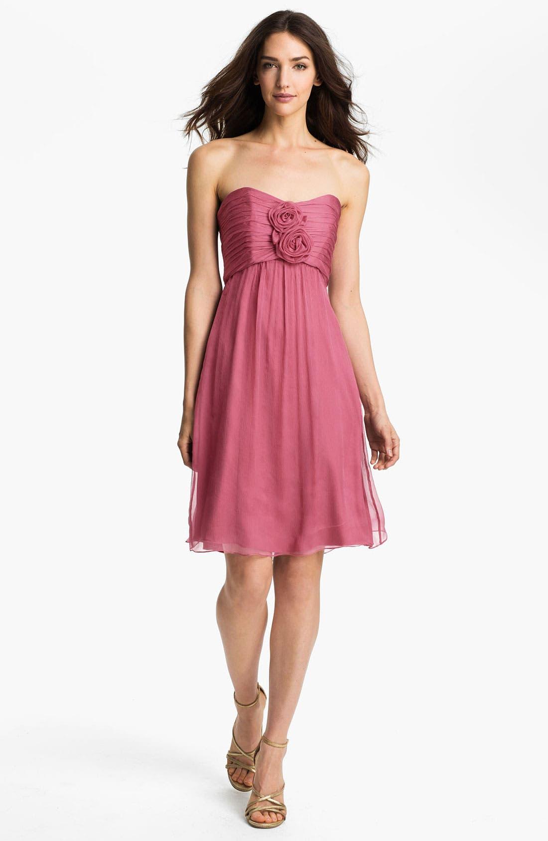 Alternate Image 1 Selected - Amsale Strapless Rosette Detail Silk Chiffon Dress