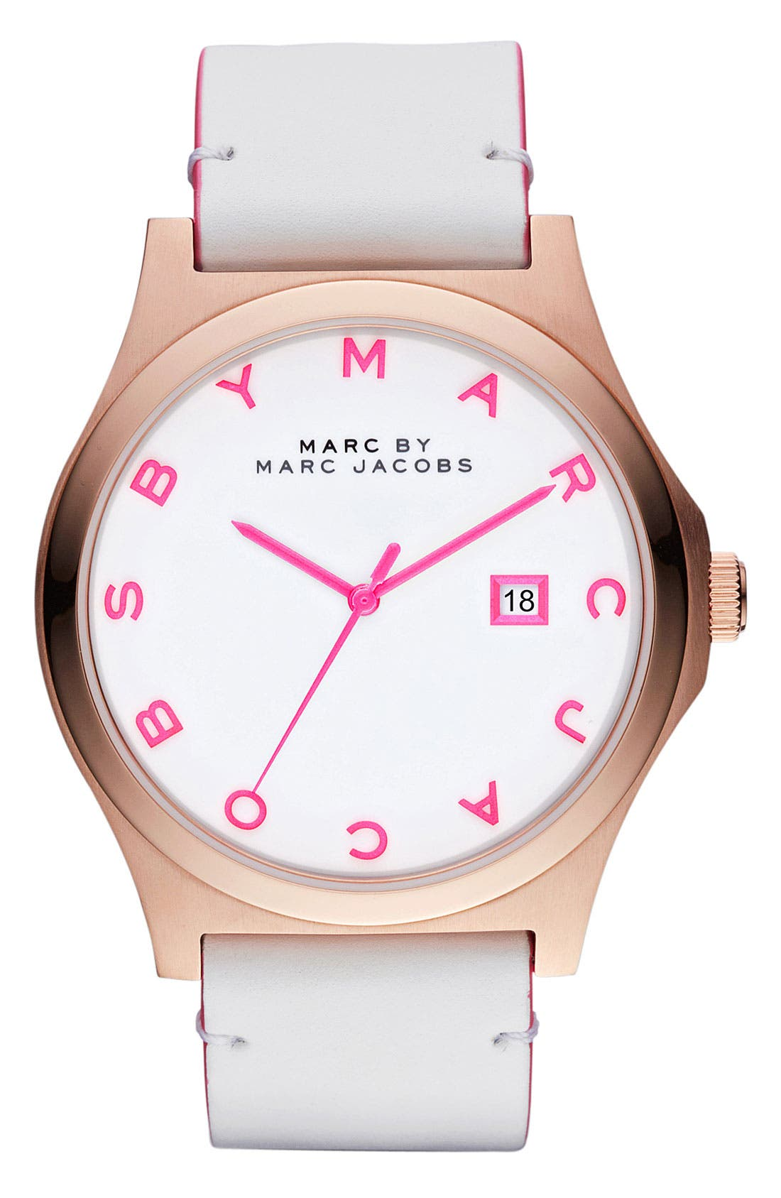 Alternate Image 1 Selected - MARC BY MARC JACOBS 'Henry' Leather Strap Watch