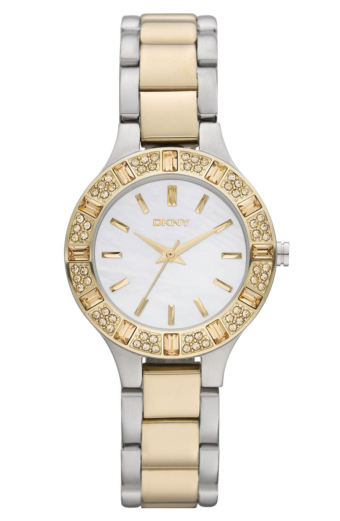 Main Image - DKNY 'Chambers' Crystal Bezel Two Tone Watch, 30mm