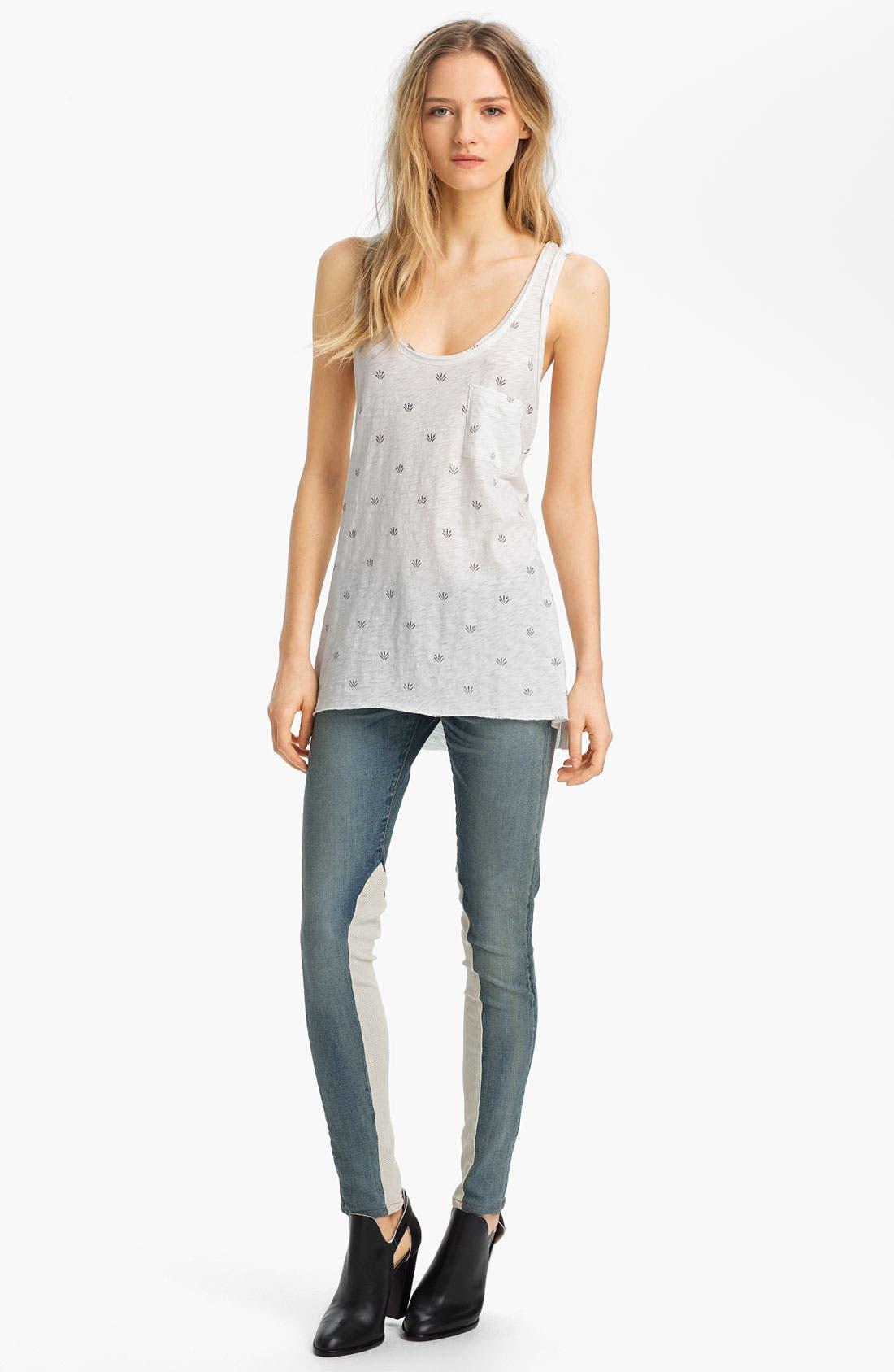 Alternate Image 4  - rag & bone/JEAN Slim Leather & Denim Jeans