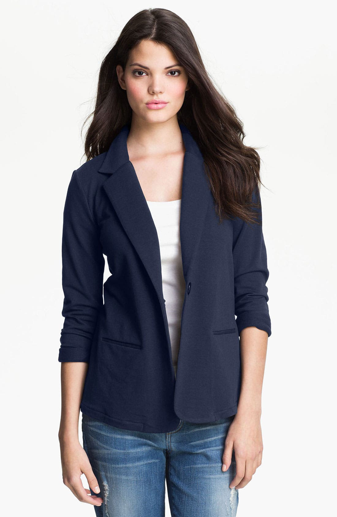 Alternate Image 1 Selected - Pleione Long Boyfriend Blazer