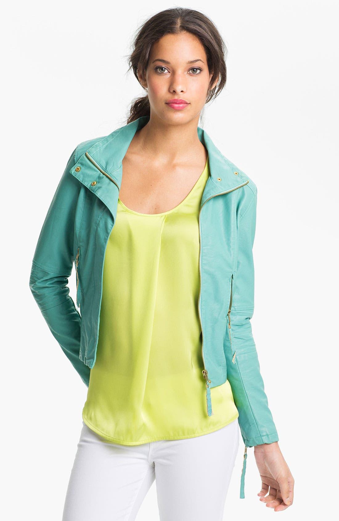 Alternate Image 1 Selected - KUT from the Kloth 'Elana' Faux Leather Scuba Jacket