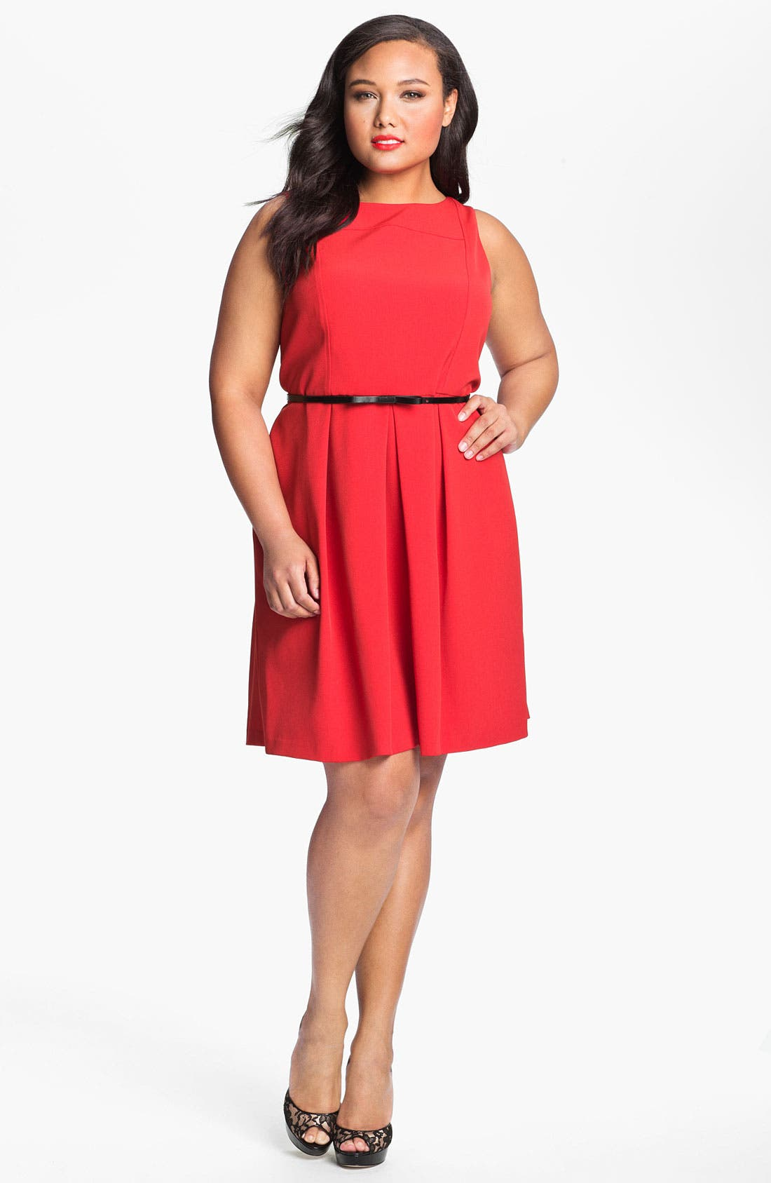 Alternate Image 1 Selected - Adrianna Papell Belted A-Line Dress (Plus Size)