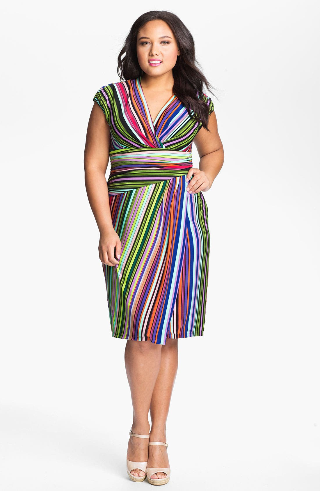 Main Image - Suzi Chin for Maggy Boutique Stripe Jersey Faux Wrap Dress (Plus Size)