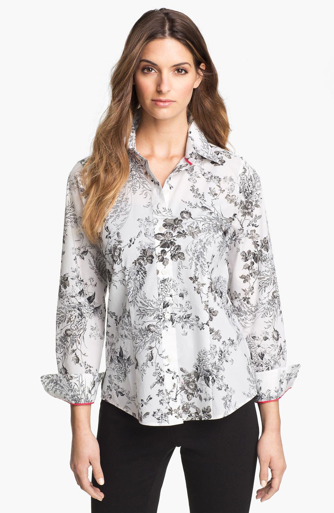 Main Image - Foxcroft 'Wild Rose' Print Shirt (Petite)