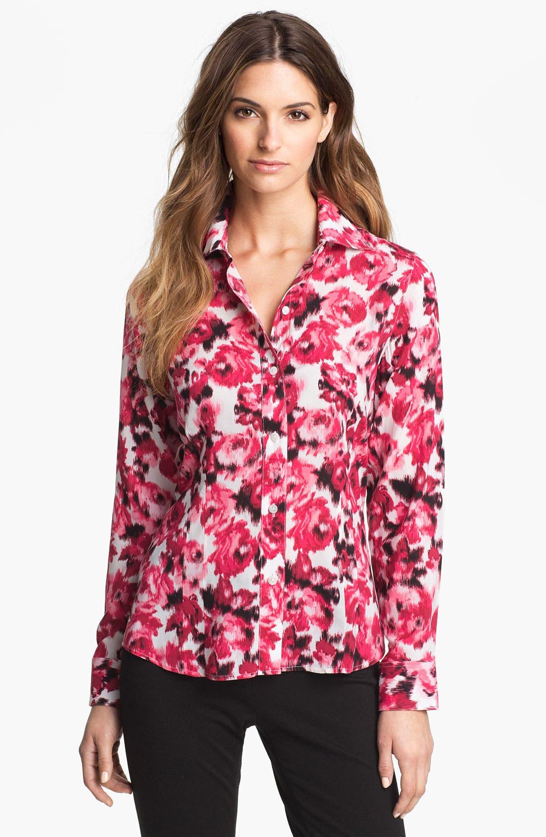 Alternate Image 1 Selected - Foxcroft 'Ikat Rose' Shirt (Petite)