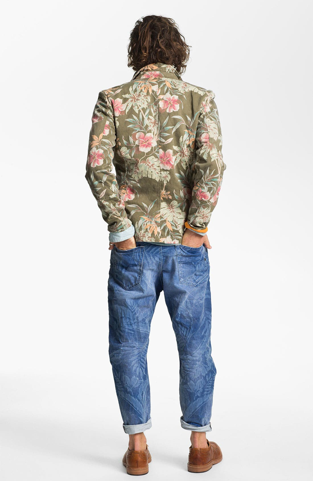Alternate Image 6  - DIESEL® 'Narrot' Cropped Slouchy Tapered Leg Jeans (Palm Print)