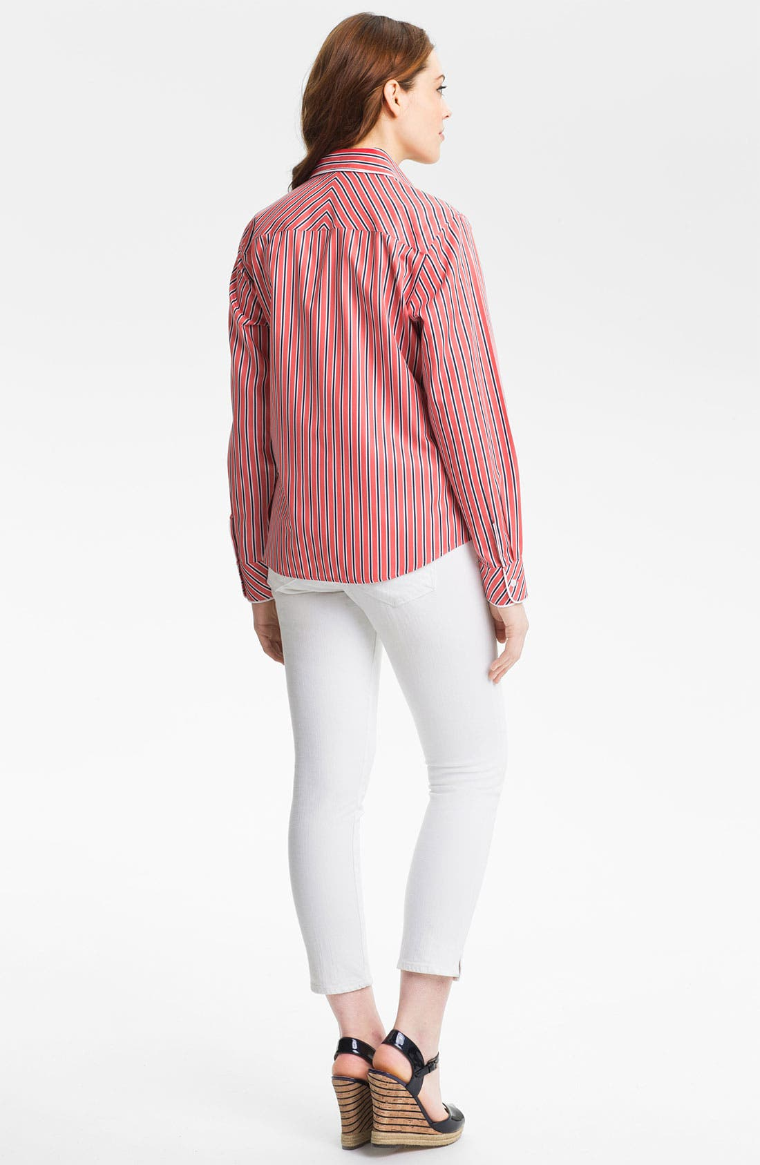 Alternate Image 4  - Foxcroft 'Papaya Stripe' Shirt (Petite)