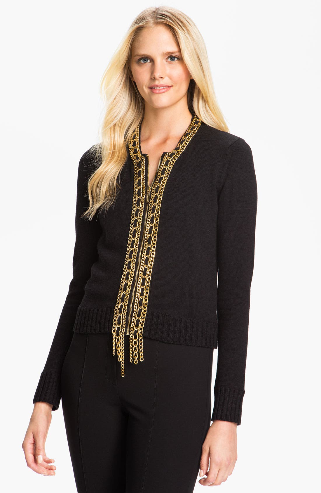 Alternate Image 1 Selected - MICHAEL Michael Kors Chain Placket Cardigan (Petite)