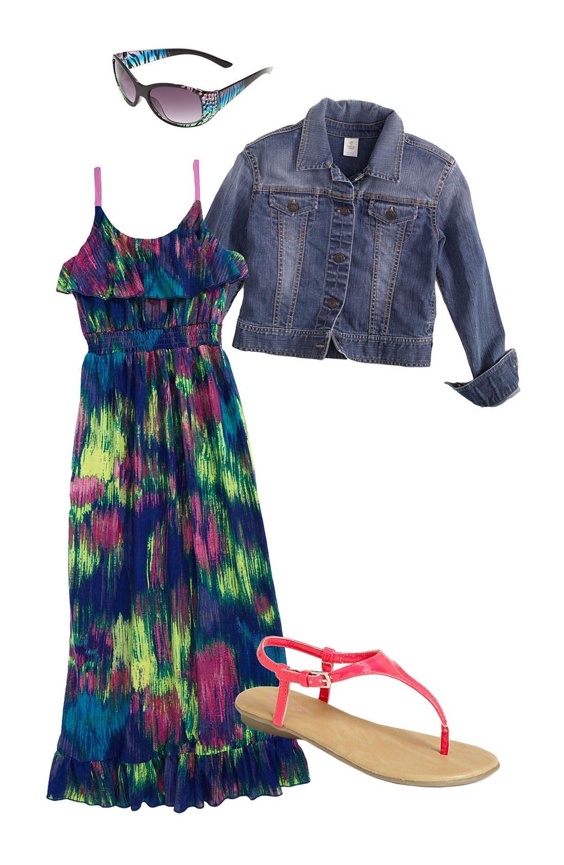 Main Image - Fire Maxi Dress & Tucker + Tate Denim Jacket (Big Girls)