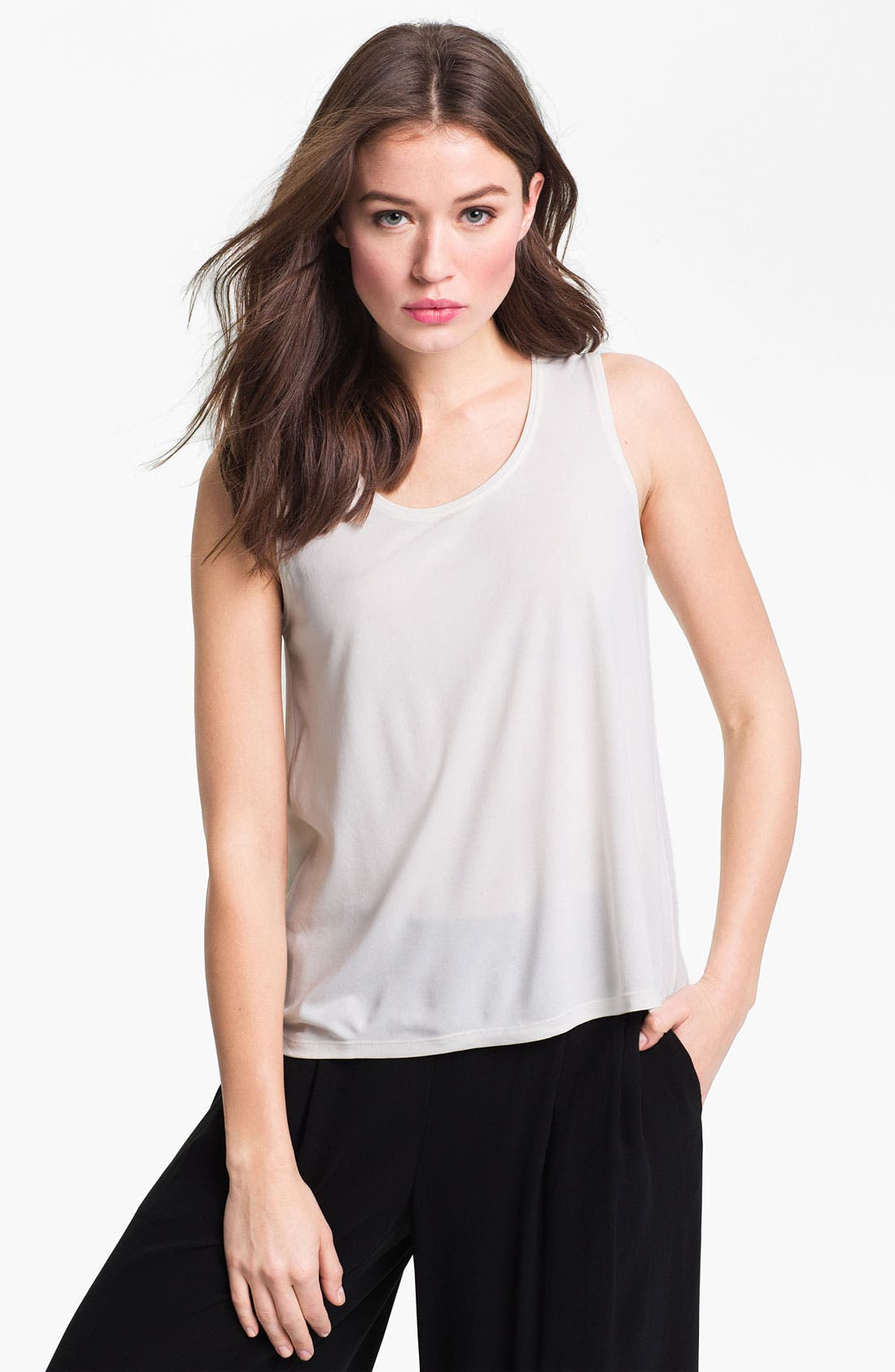Alternate Image 1 Selected - Eileen Fisher Scoop Neck Silk Tank (Regular & Petite)