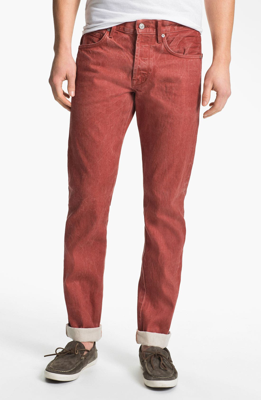 Alternate Image 2  - 7 For All Mankind® Straight Leg Selvedge Jeans (Passion Red)