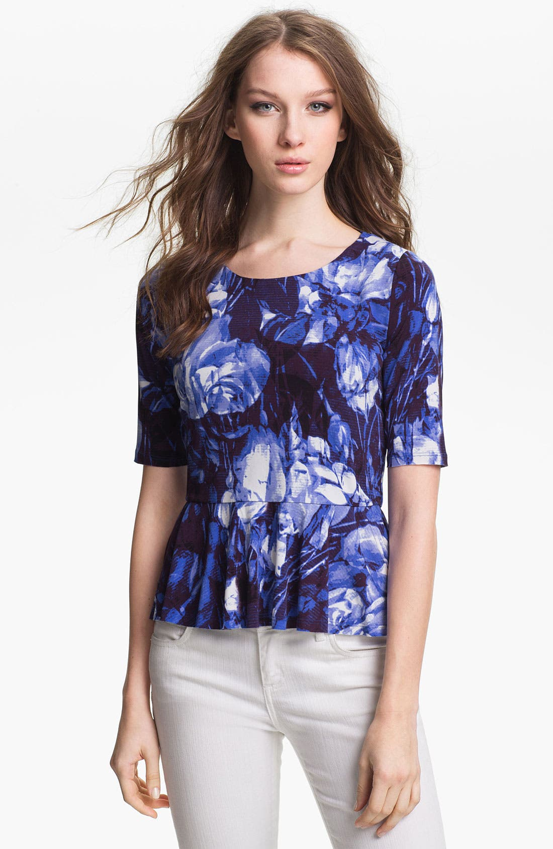 Alternate Image 1 Selected - Vince Camuto Floral Print Peplum Top