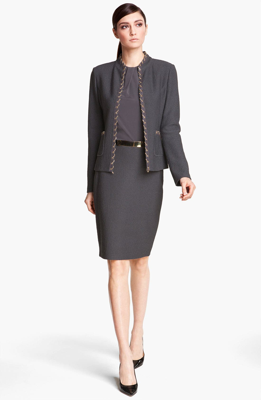 Alternate Image 2  - St. John Collection Chain Trim Bouclé Jacket