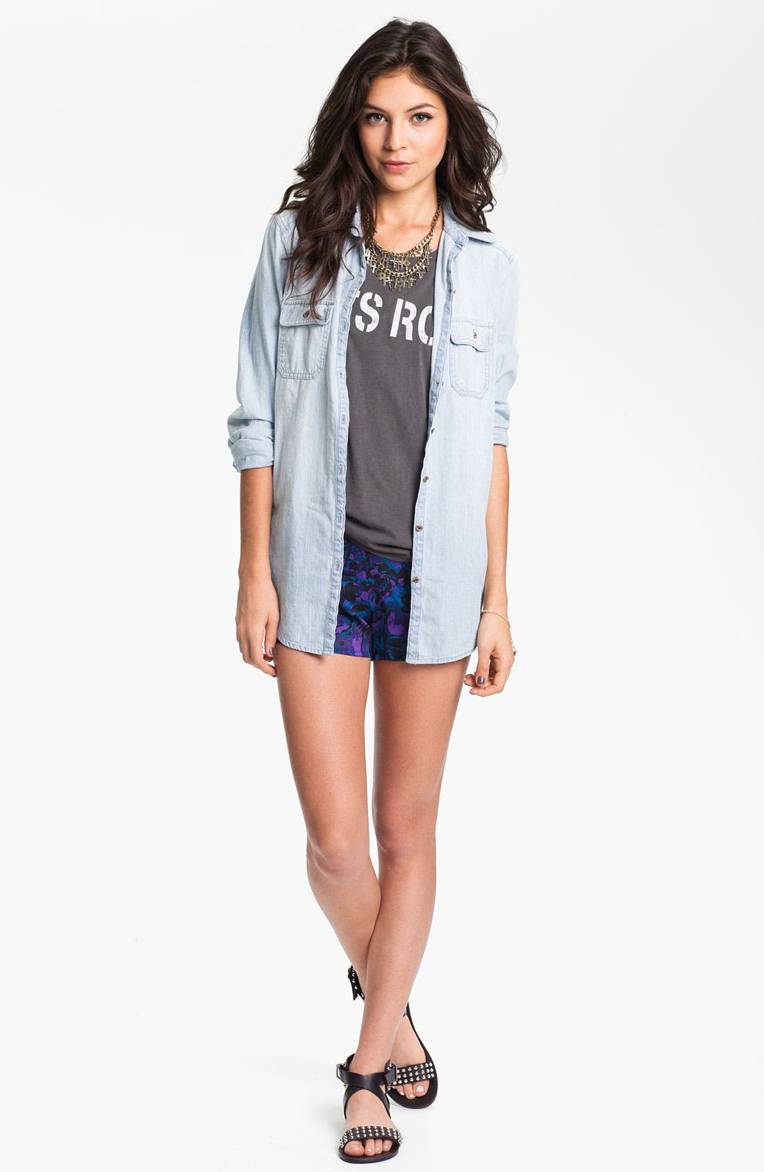 Alternate Image 2  - Mimi Chica Floral Print Shorts (Juniors)