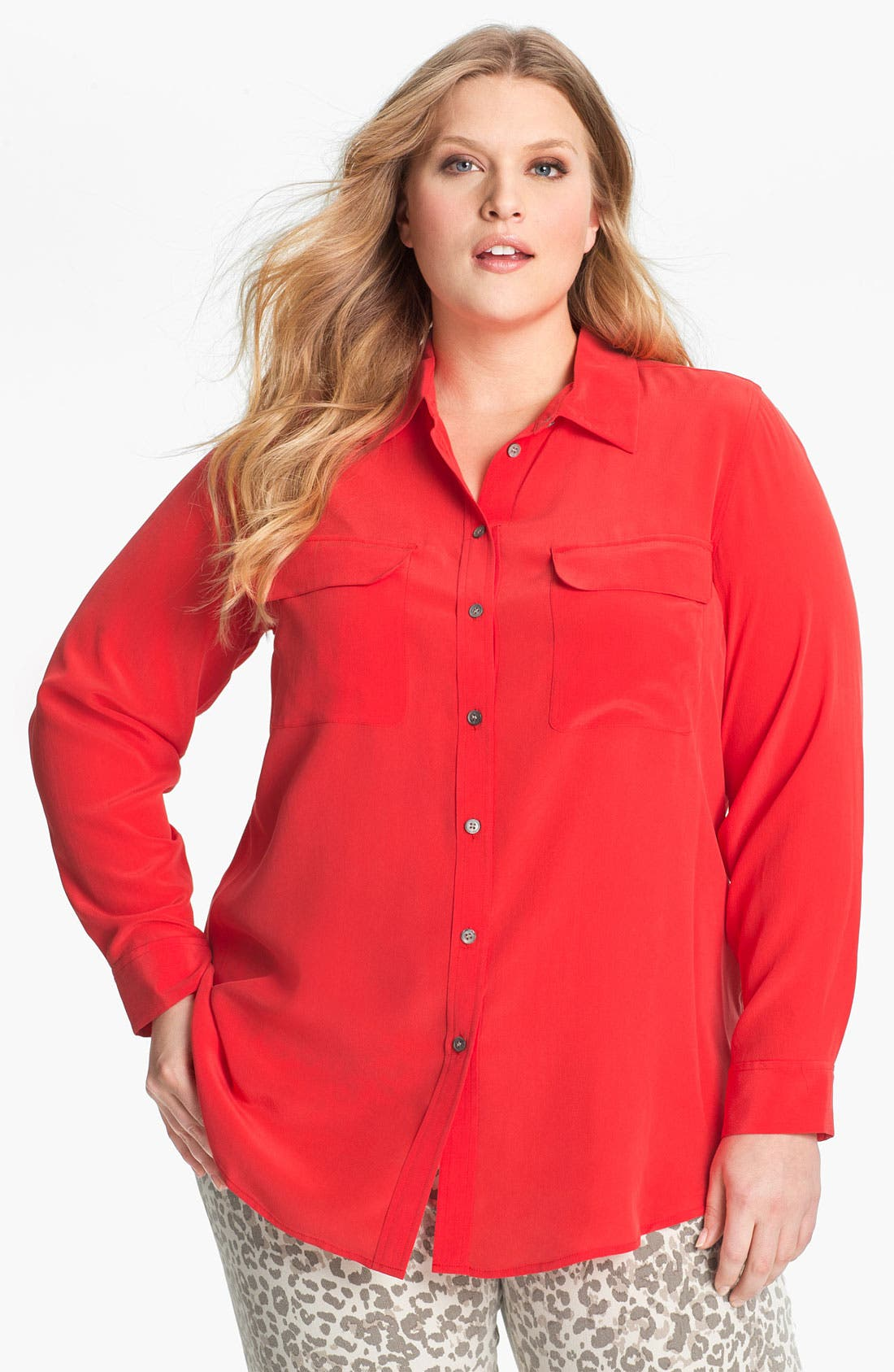 Main Image - Two by Vince Camuto Silk Utility Shirt (Plus)