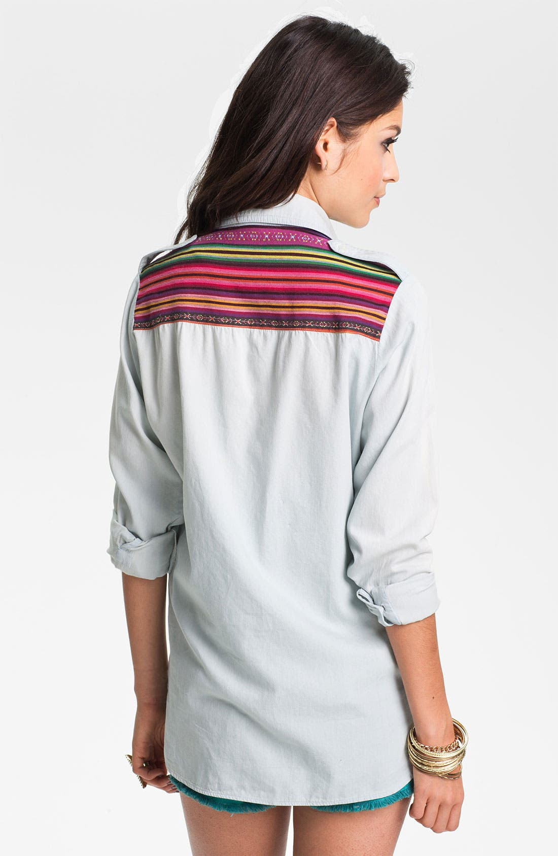 Alternate Image 1 Selected - Band of Gypsies Festival Chambray Shirt (Juniors)