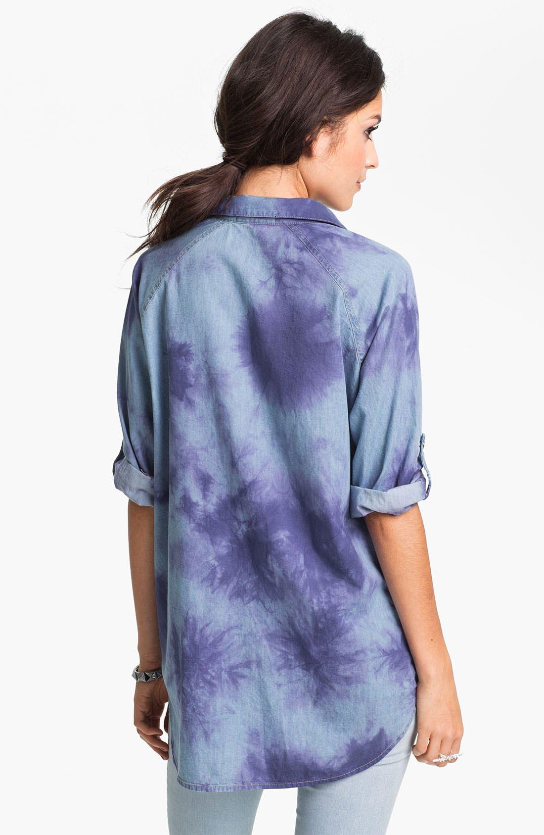 Alternate Image 2  - Fire Tie Dye Chambray Shirt (Juniors)