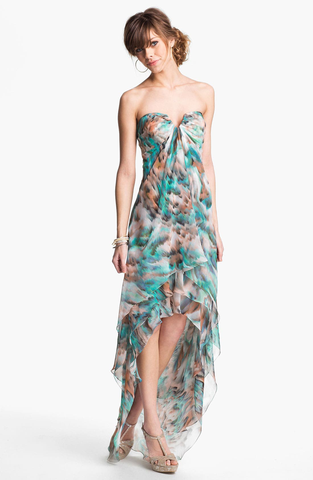 Alternate Image 1 Selected - La Femme Tiered High/Low Chiffon Gown