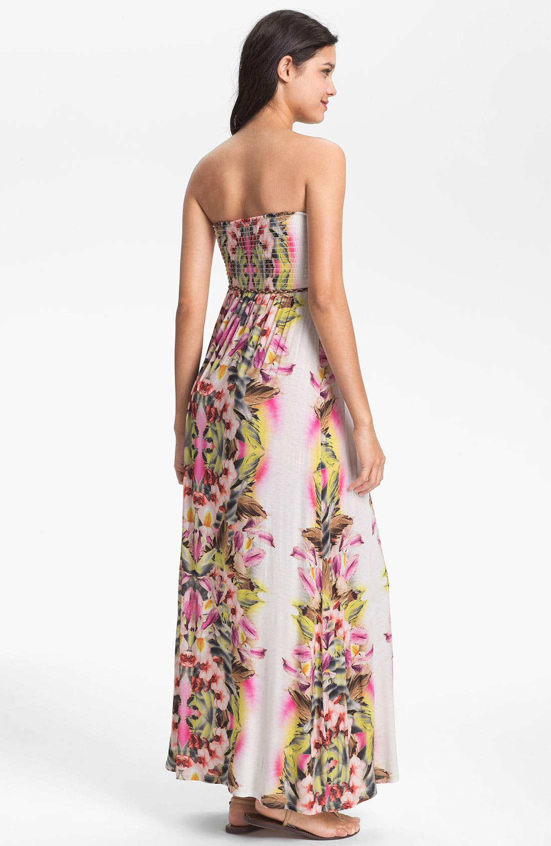 Alternate Image 2  - Lily Aldridge for Velvet by Graham & Spencer Floral Print Strapless Maxi Dress