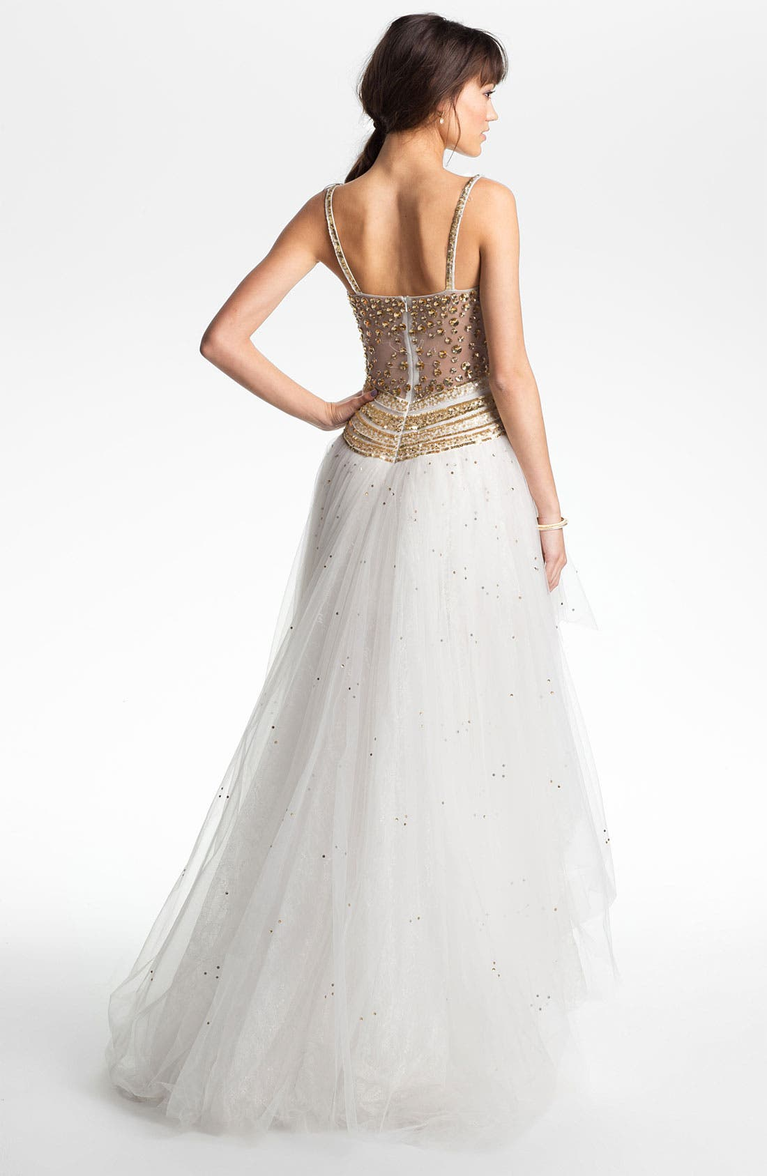 Alternate Image 2  - Sherri Hill Embellished High/Low Tulle Gown