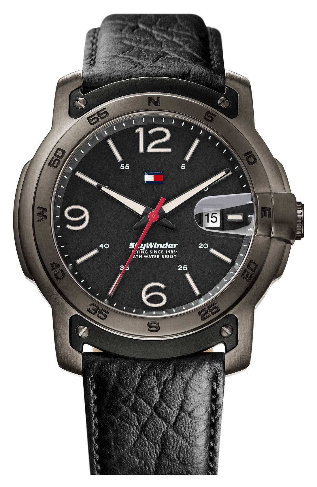 Main Image - Tommy Hilfiger Round Leather Strap Watch, 47mm