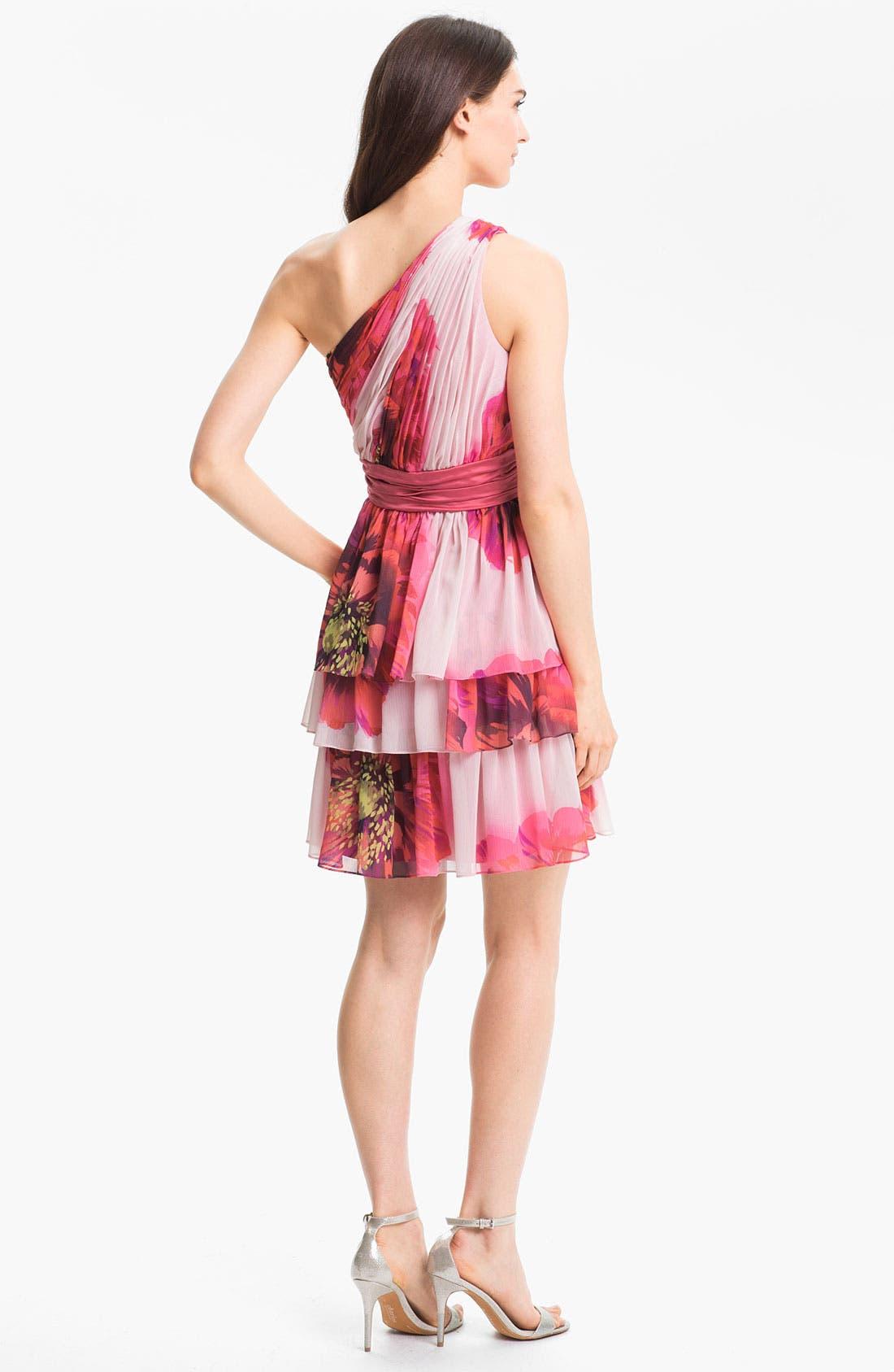 Alternate Image 2  - Max & Cleo One Shoulder Tiered Chiffon Dress