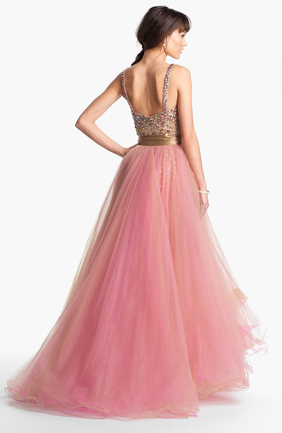 Alternate Image 2  - Sherri Hill Beaded Tulle Overlay Dress (Online Exclusive)