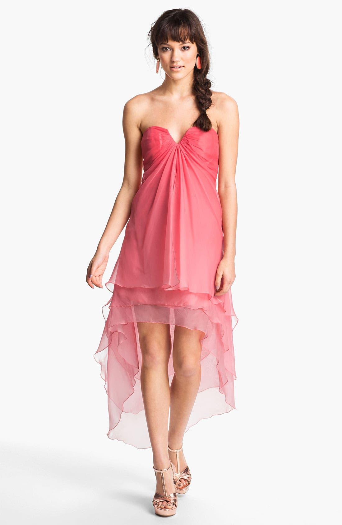Main Image - La Femme Ombré Strapless High/Low Chiffon Gown