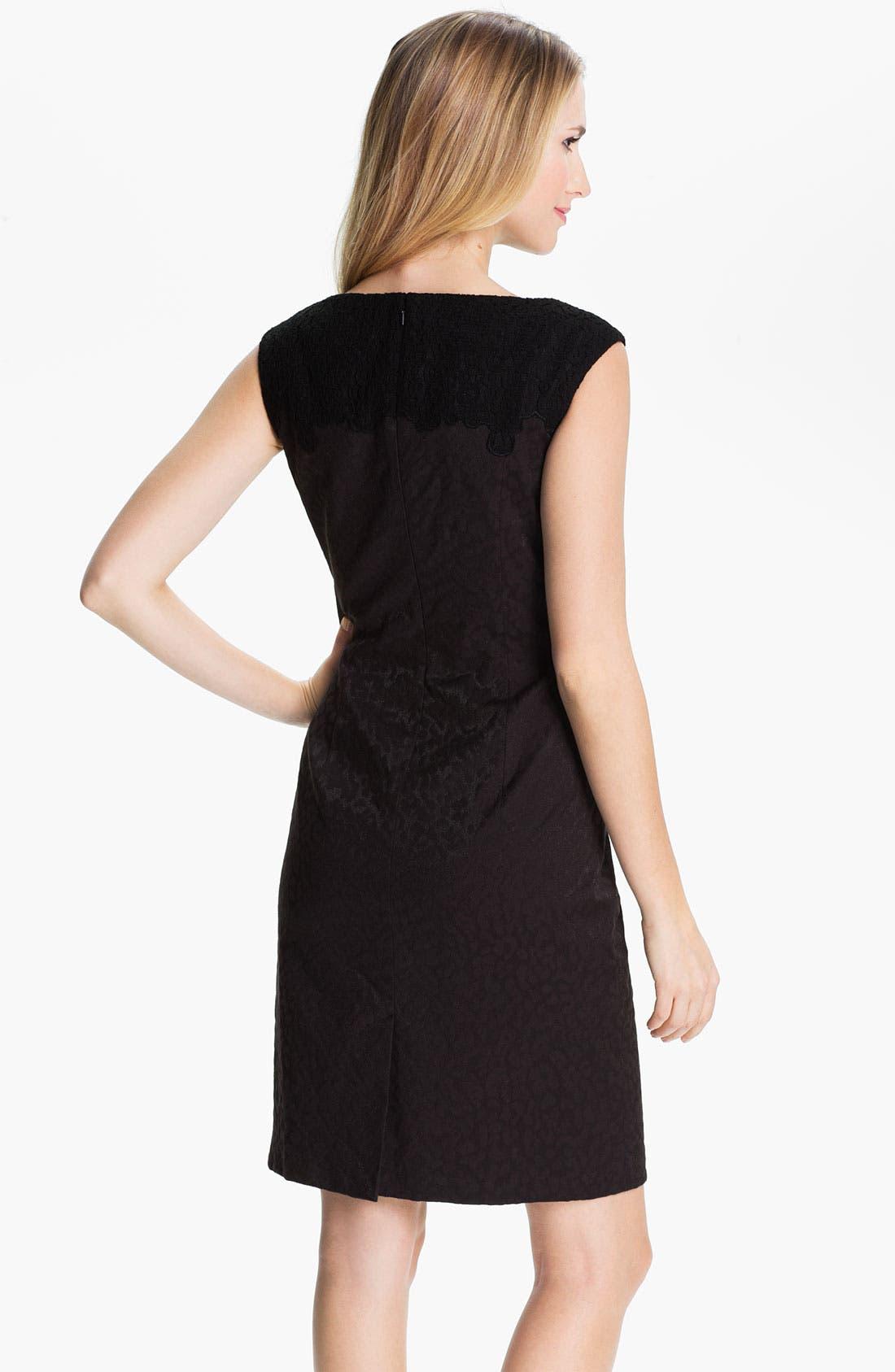 Alternate Image 2  - Adrianna Papell Embroidered Brocade Sheath Dress (Petite)