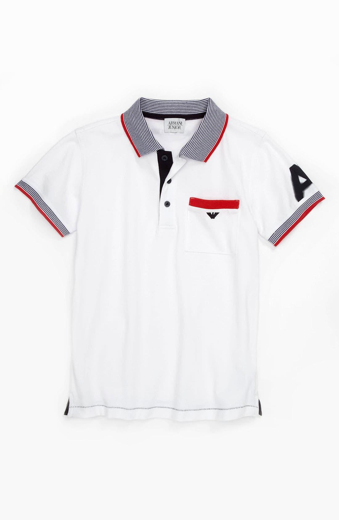 Main Image - Armani Junior 'Logo' Short Sleeve Polo (Big Boys)