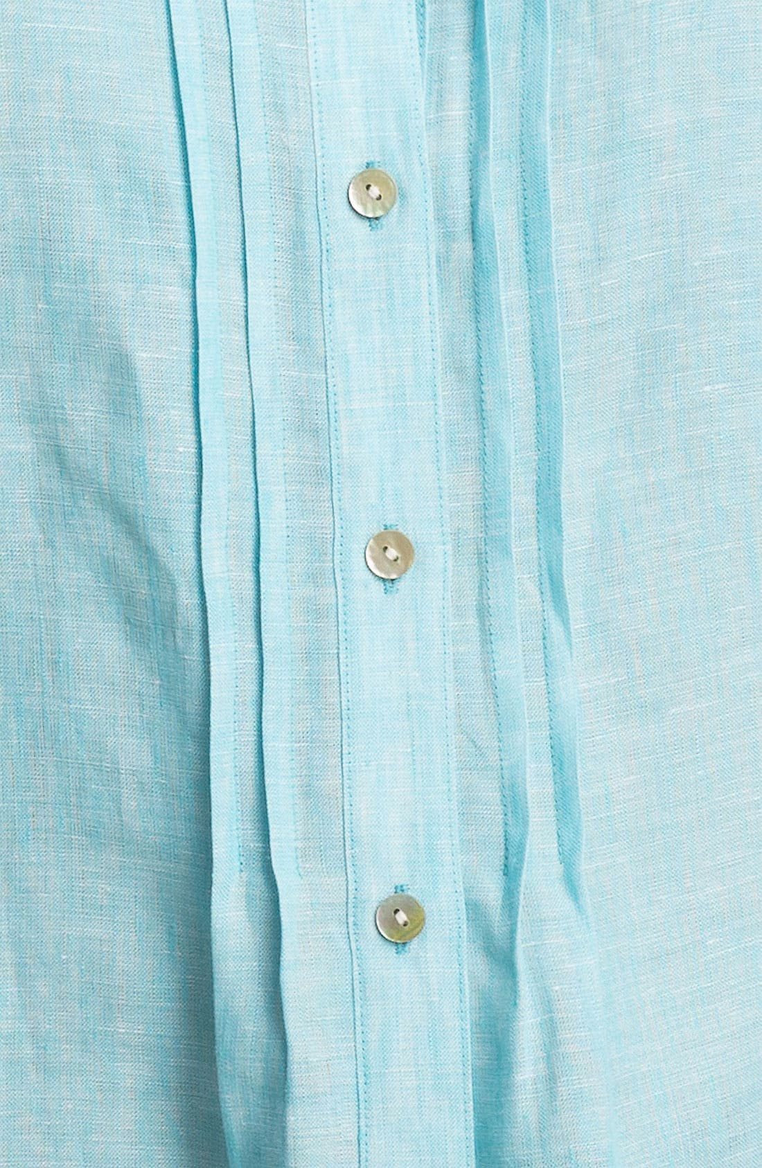 Alternate Image 3  - Foxcroft Chambray Linen Shirt (Plus Size)