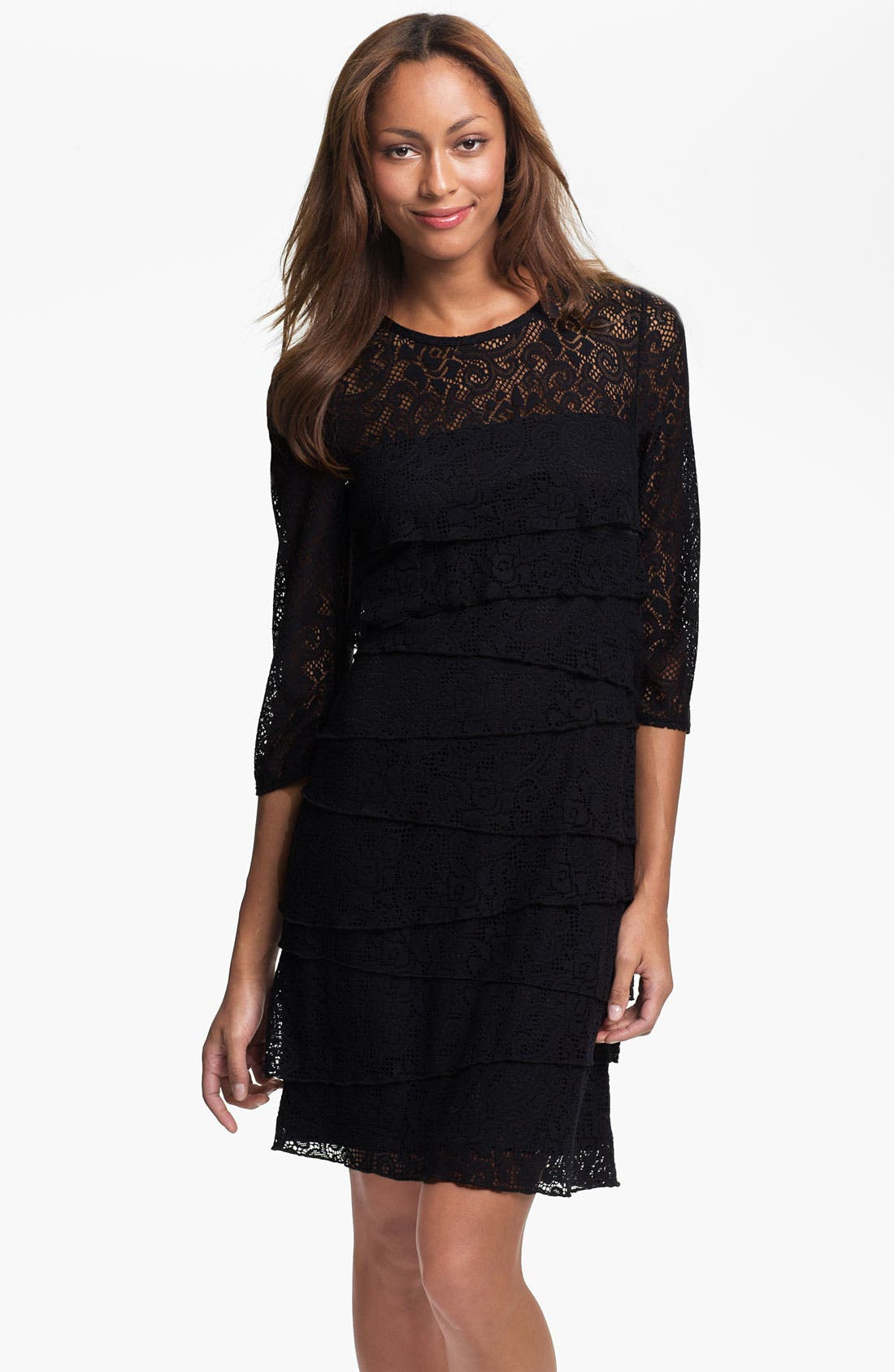 Main Image - Laundry by Shelli Segal Illusion Yoke Tiered Lace Dress (Petite)